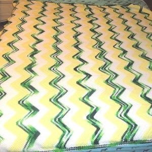 Vintage NEW Handmade Afghan Yellow Green Chevron